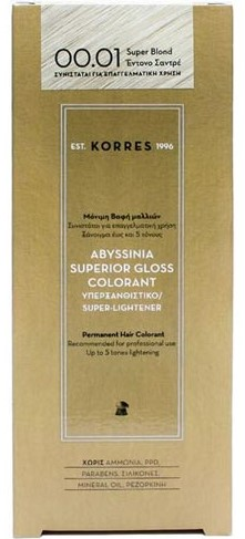 KORRES Abyssinia Superior Gloss Colorant NO00.01 Super Blonde Έντονο Σαντρέ, 50ml
