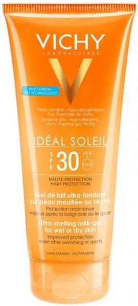 VICHY Ideal Soleil Milk-Gel Wet Skin Technology SPF30 Εξτρα Απαλό Αντηλιακό Γαλάκτωμα-Gel, 200ml