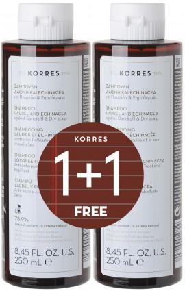 KORRES Σετ Σαμπουάν με Δάφνη & Echinacea, 1+1 Δώρο, 250ml & 250ml