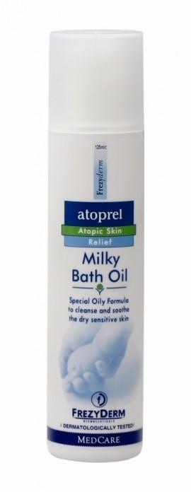 FREZYDERM Atoprel Milky Bath Oil, Λάδι Μπάνιου για καθαρισμό ξηρού με ατοπική διάθεση δέρματος, 2X125ml