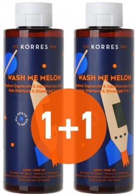 KORRES Wash Me Melon Παιδικό Σαμπουάν & Αφρόλουτρο 2 σε 1 Με Άρωμα Πεπόνι, 1+1 Δώρο, 250ml & 250ml