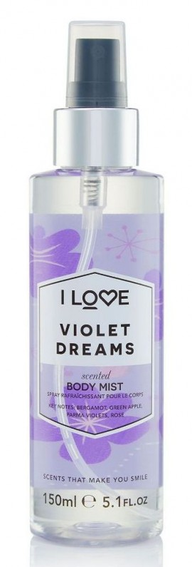 I LOVE Cosmetics Violet Dreams Body Mist Spray άρωμα σώματος με αρώματα Βιολέτας και Φρούτων για όλες τις ώρες 150ml (1 τεμάχιο)