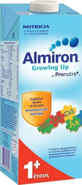 Almiron Growing Up 1+ σε υγρή μορφή νηπιακό ρόφημα γάλακτος για νήπια 1-2 ετών, 1Lt