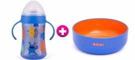 Set Suavinex Παιδικό Πιάτο βαθύ Βοοο σε μπλε χρώμα, 6m+ & Εκπαιδευτικό Κύπελλο Second με Λαβές Βοοο σε μπλε χρώμα, 4m+, 270ml, 2τμχ
