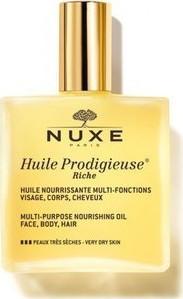 NUXE Huile Prodigieuse Rich, Ξηρό Ενυδατικό Λάδι για Πρόσωπο, Σώμα & Μαλλιά για Ξηρές Επιδερμίδες, 100ml