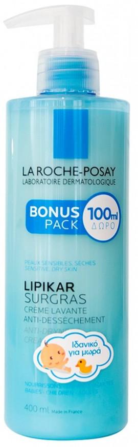 LA ROCHE-POSAY Lipikar Surgras Liquide Καθαριστικό για Πρόσωπο και Σώμα σε Υφή Κρέμας, 400ml