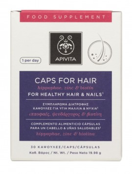 APIVITA Κάψουλες για Υγίη Μαλλία & Nύχια με Ιπποφαές,Ψευδάργυρος & Βιοτίνη, 30CPS