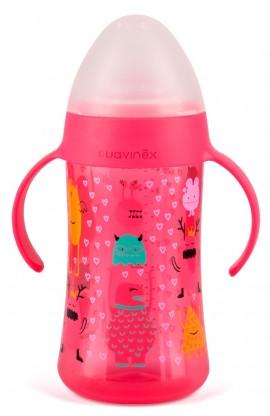 SUAVINEX Βοοο! Δεύτερο μπουκάλι με λαβές 270 ml με μαλακό στόμιο σιλικόνης Άθραυστο Για Μωρά +6Μ Girl Χρώμα Ροζ code 10303615