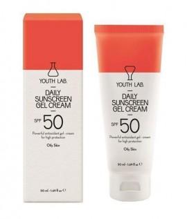 YOUTH LAB Daily Sunscreen Gel Cream Spf 50 Oily Skin Αντιηλιακό κρεμοτζέλ προσώπου για λιπαρό δέρμα με χρώμα, ευχάριστο άρωμα, υψηλή προστασία και ματ …