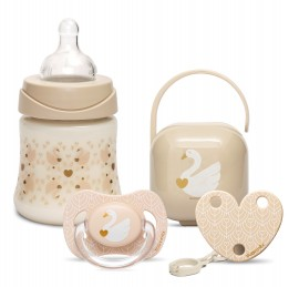 SUAVINEX Swan Collection Σετ SWAN περιλαμβάνει Μπιμπερό 150ml πλαστικό PP Θηλής Σιλικόνης + Πιπίλα Σιλικόνης για μωρά 0-6Μ + Κλιπ πιπίλας + Θήκη πιπίλ …