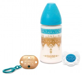 SUAVINEX SET BOYS Haute Couture Μπιμπερό 270 ml Πλαστικό 3P με Θηλή Σιλικόνης + Πιπίλα Σιλικόνης για Αγοράκια 0-4M + Κλιπ code 10 304258