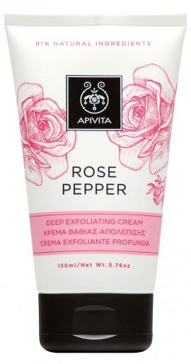 APIVITA Rose Pepper Κρέμα Βαθιάς Απολέπισης με Ροζ, Μαύρο, Κόκκινο Πιπέρι & Τριαντάφυλλο, 150ml