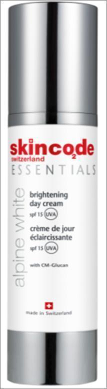 SKINCODE Essentials Alpine White Brightening  Day Cream SPF15,  Αντιρυτιδική διορθωτική κρέμα ημέρας, SPF15, 50ml