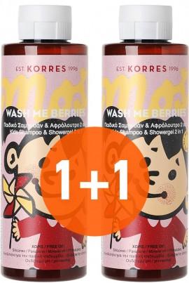 KORRES Wash Me Berries, Παιδικό Σαμπουάν & Αφρόλουτρο 2 σε 1 με Άρωμα Μούρων, 1+1 Δώρο, 250ml & 250ml