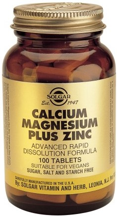 SOLGAR Calcium Magnesium + Zinc, 100Tabs