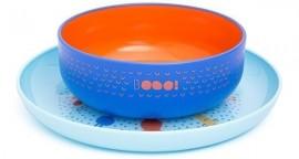 Suavinex Set Παιδικό Πιάτο βαθύ Βοοο σε μπλε χρώμα 4m+ & Παιδικό Πιάτο Σιέλ 4m+, 2τμχ