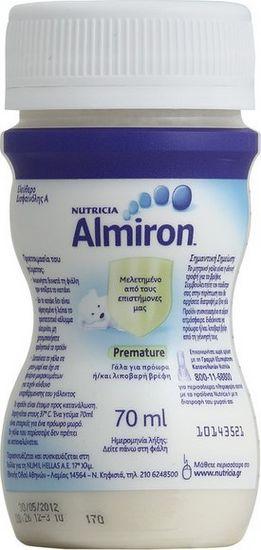 Almiron Premature της NUTRICIA, ειδικό γάλα για πρόωρα / λιποβαρή μωρά σε υγρή μορφή σε πλαστικό φιαλίδιο των 70ml
