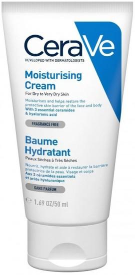 CERAVE Moisturising Cream Ενυδατική Κρέμα για Πρόσωπο/Σώμα για Ξηρό/Πολύ Ξηρό Δέρμα Χωρίς Άρωμα, 50ml