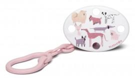 SUAVINEX FUSION Οβάλ Κλιπ πιπίλας με αλυσίδα  DOG Pink code 10304961