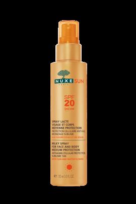 NUXE Sun Milky Spray SPF20, Αντηλιακό Γαλάκτωμα Πρόσωπο και Σώμα SPF20, 150ml