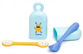 SUAVINEX Βοοο!  Set Θήκη με κουτάλι & πιαστρακί πετσετούλας φαγητού Για Μωρά +4Μ Χρώμα Μπλε code 10303610