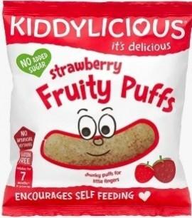 KIDDYLICIOUS Strawberry Fruity Puffs ΓΑΡΙΔΙΑΚΙΑ Φράουλα , κατάλληλα από τον 7ο Μήνα, 10gr