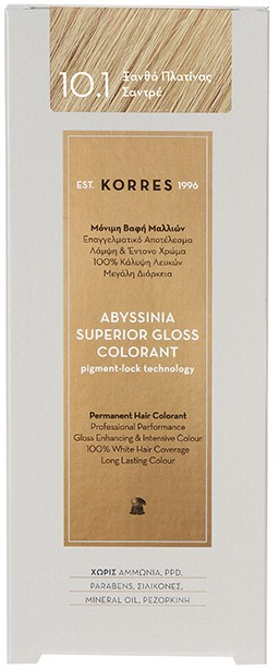KORRES Abyssinia Superior Gloss Colorant NO10.1 Ξανθό Πλατίνας Σαντρέ, 50ml
