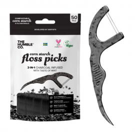 The Humble Floss Picks Οδοντογλυφίδα και Οδοντικό νήμα (2 σε 1) ενισχυμένο με ενεργό Άνθρακα και γεύση μέντα, 1 τεμάχιο