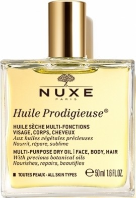 NUXE Huile Prodigieuse, Ξηρό Ενυδατικό Λάδι για Πρόσωπο, Σώμα & Μαλλιά, 50ml