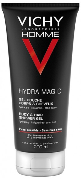 VICHY Homme Homme Hydra Mag-C Shower Gel Τονωτικό αφρόλουτρο για σώμα και μαλλιά, 200ml