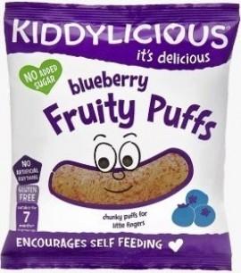 KIDDYLICIOUS Blueberry Fruity Puffs ΓΑΡΙΔΙΑΚΙΑ Μύρτιλο, κατάλληλα από τον 7ο Μήνα, 10gr