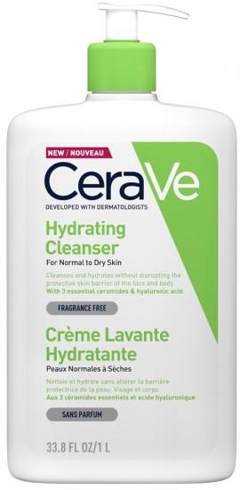CERAVE Hydrating Cleanser Το CeraVe Hydrating Cleanser Καθαρίζει και Ενυδατώνει Πρόσωπο και Σώμα Χωρίς να Διαταράσσει τον Επιδερμιδικό Φραγμό, 1lt