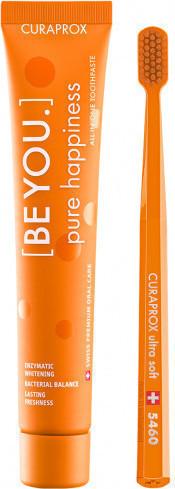 CURAPROX,  Be You Pure Happiness Οδοντόκρεμα Ροδάκινο & Βερίκοκο 90ml & Οδοντόβουρτσα CS 5460 Σε Πορτοκαλί Χρώμα, 1 Τεμάχιο