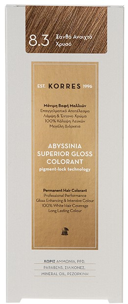 KORRES Abyssinia Superior Gloss Colorant NO8.3 Ξανθό Ανοικτό Χρυσό, 50ml