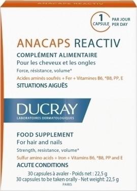 DUCRAY,  Anacaps Reactiv, Συμπλήρωμα διατροφής κατά της αντιδραστικής τριχόπτωσης, 30 κάψουλες