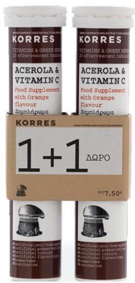 KORRES Acerola & Vitamin C με Γεύση Πορτοκάλι, 1+1 Δώρο, 20Tabs & 20Tabs
