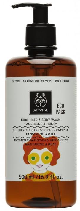 APIVITA Eco Pack Kids Σαμπουάν & Αφρόλουτρο με Μανταρίνι & Μέλι, 500ml