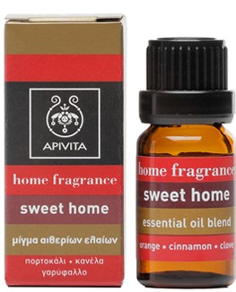 APIVITA Sweet Home Βιολογικό Αιθέριο Έλαιο με Μίγμα από Πορτοκάλι, Κανέλλα & Γαρύφαλλο, 10ml