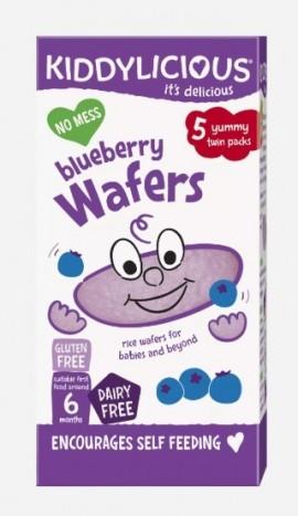 KIDDYLICIOUS ΡΥΖΟΓΚΟΦΡΕΤΑ ΜΥΡΤΙΛΟ Blueberry Wafers, κατάλληλα από τον 6ο Μήνα, 20gr