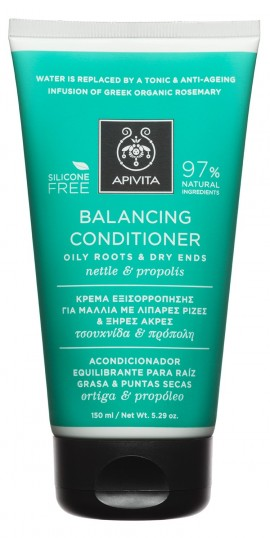 APIVITA Κρέμα Εξισορρόπησης για Μαλλιά με Λιπαρές Ρίζες & Ξηρές Άκρες με Τσουκνίδα & Πρόπολη, 150ml