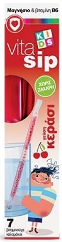 POWER HEALTH Vitasip Kids Καλαμάκια Μαγνήσιο & Βιταμίνη B6 Χωρίς Ζάχαρη με Γεύση Κεράσι, 7ΤΜΧ