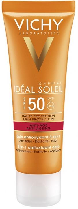 VICHY Ideal Soleil Anti-ageing SPF50+ Αντηλιακή Προσώπου με Αντιγηραντική Δράση, 50ml