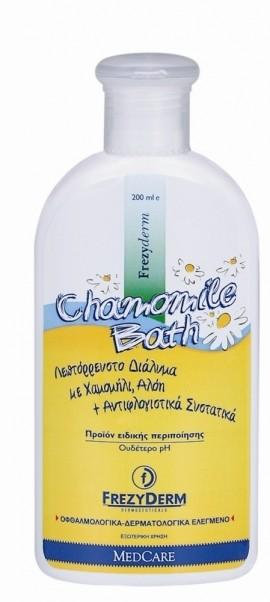FREZYDERM Baby Chamomile Bath, Προϊόν Ειδικής Περιποίησης με χαμομήλι, αλόη και αντιφλογιστικά συστατικά για ερεθισμένο και ατοπικό δέρμα, 200ml