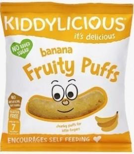 KIDDYLICIOUS Banana Fruity Puffs ΓΑΡΙΔΙΑΚΙΑ Μπανάνα, κατάλληλα από τον 7ο Μήνα, 10gr