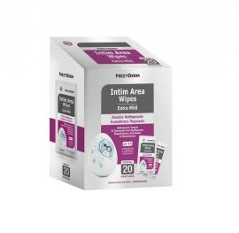 FREZYDERM Intim Area Wipes Extra Mild, Μαντηλάκια Καθαρισμού Για Την Ευαίσθητη Περιοχή, 20 Φακελάκια