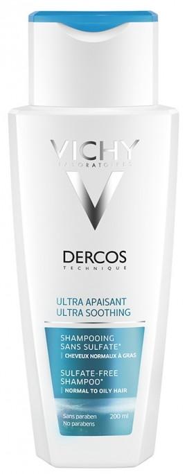 VICHY Dercos Ultra Soothing - Greasy Hair Σαμπουάν για Ευαίσθητο Τριχωτό & Κανονικά/Λιπαρά Μαλλιά, 200ml