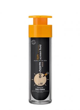 FREZYDERM Ac-Norm Sun Screen Fluid Tinted SPF 50+, Aντηλιακή Προσώπου με Χρώμα για Ακνεϊκά Δέρματα, 50ml