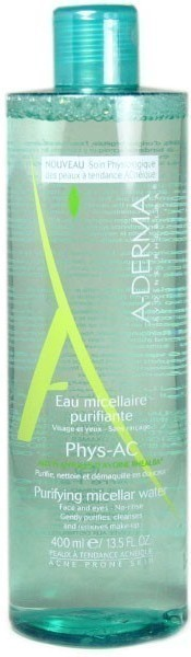 A-DERMA,  Phys-AC Eau micellaire purifiante, Εξυγιαντικό νερό καθαρισμού με μικύλλια για Επιδερμίδες Με Τάση Ακμής, 400ml