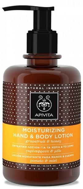 APIVITA Ενυδατική Λοσιόν για τα Χέρια και το Σώμα με Γκρέιπφρουτ & Μέλι, 300ml
