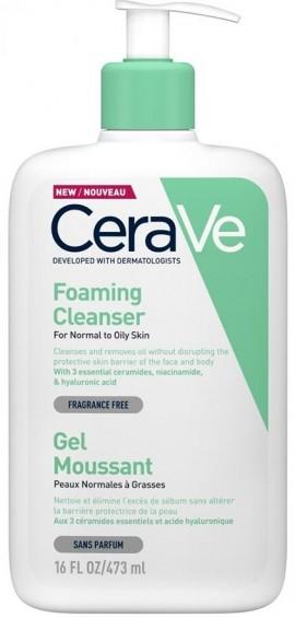 CERAVE Foaming Cleanser Καθαρίζει και Απομακρύνει τη Λιπαρότητα από Πρόσωπο και Σώμα Χωρίς να Διαταράσσει τον Επιδερμιδικό Φραγμό, 473ml